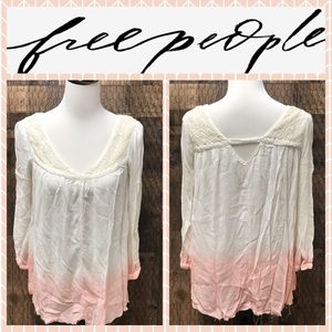 Free People Pink White Ombré Tunic Top Small